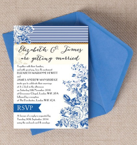 French Toile Wedding Invite