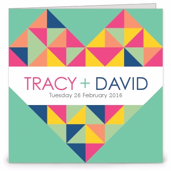 Geometric Heart Wedding Invitation