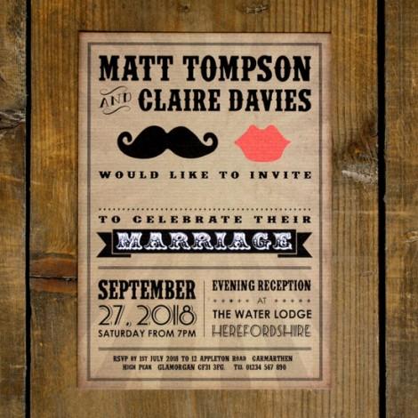 Moustache & Lips Wedding Invite