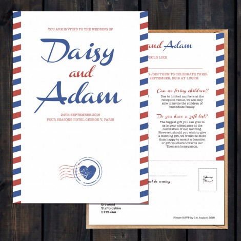 Priority Airmail Wedding Invite