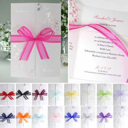 Silver Flora Wedding Invitation
