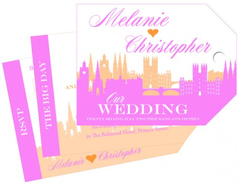 Skyline Wedding Invite Pink