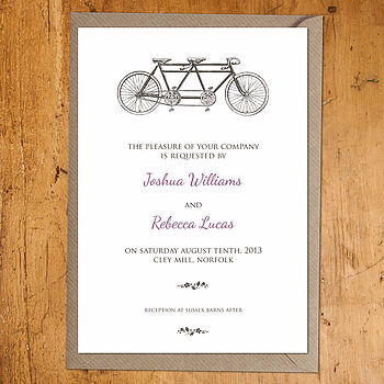 Tandem Wedding Invite