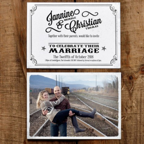 Vintage Photo Wedding Postcard