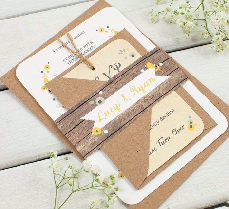 Wooden Yellow Floral Wedding Invitation