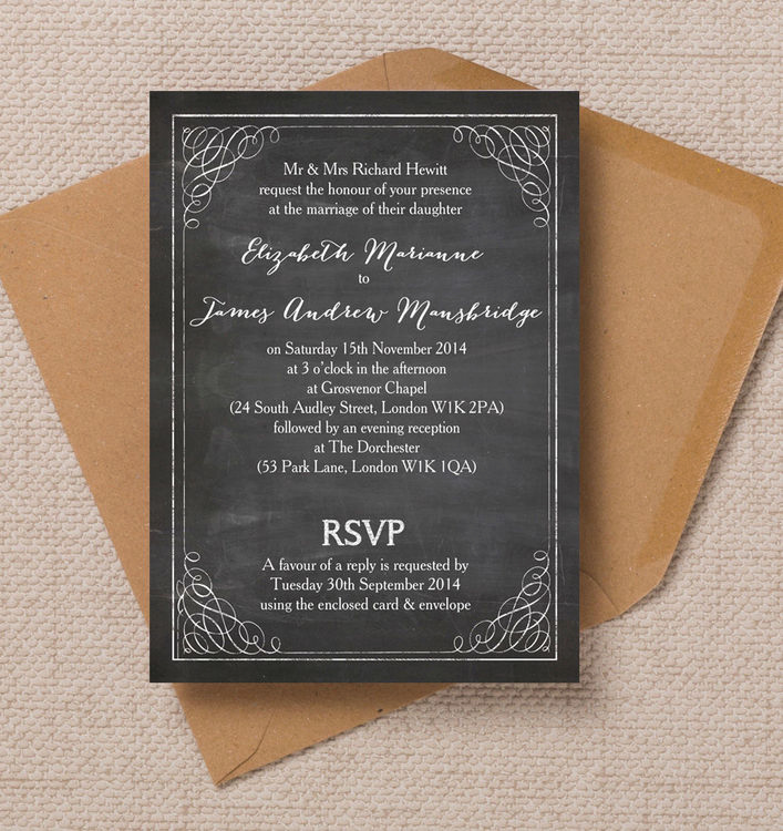 Wedding invitation gallery wedding invites from uk suppliers a chalkboard wedding invite stopboris Choice Image