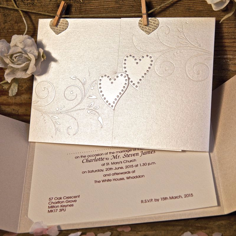 Wedding invitation gallery wedding invites from uk suppliers a sparkling hearts wedding invitation stopboris Image collections