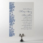 Blue Floral Letterpress Wedding Invitation
