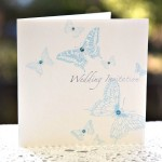 Aqua Blue Butterfly Wedding Invitation