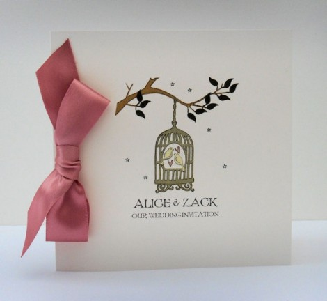 Contemporary birdcage invitation with dusky pink bow