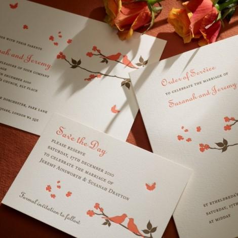 Brown and Orange Letter Press Wedding Invite