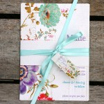 Floral Wedding Invitation with Wood Background