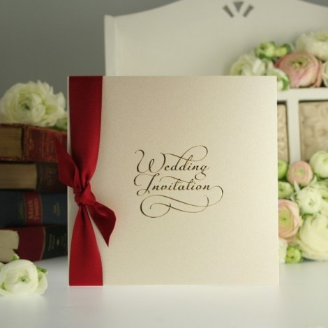 Gold Foil Wedding Invitation with Scarlet Red Bow