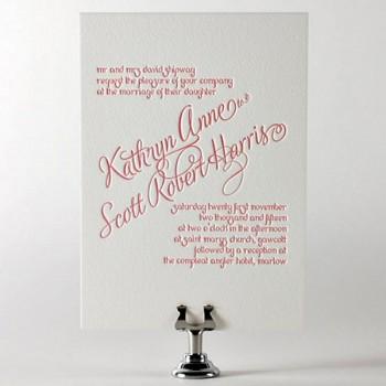 Dusky Pink Letter Press Wedding Invitation