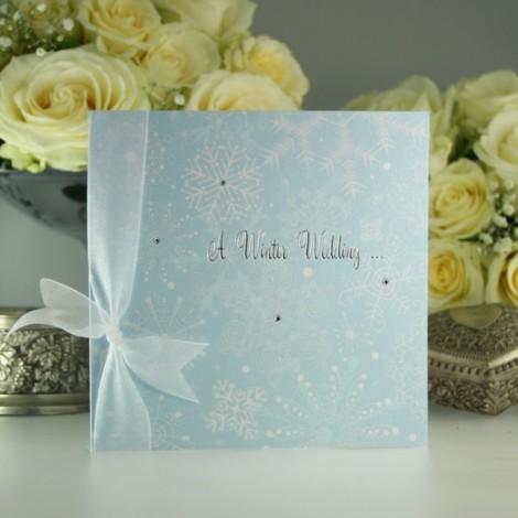 Winter Wedding Invitation with Snowflakes