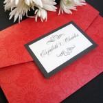 Pocketfold Wedding Invitation in Red and Black