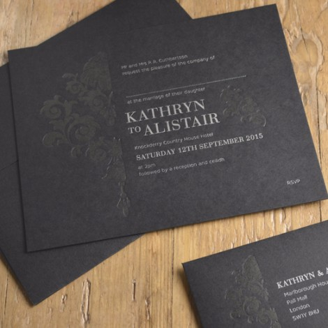 Black and White Rococo Letter Press Wedding Invitation