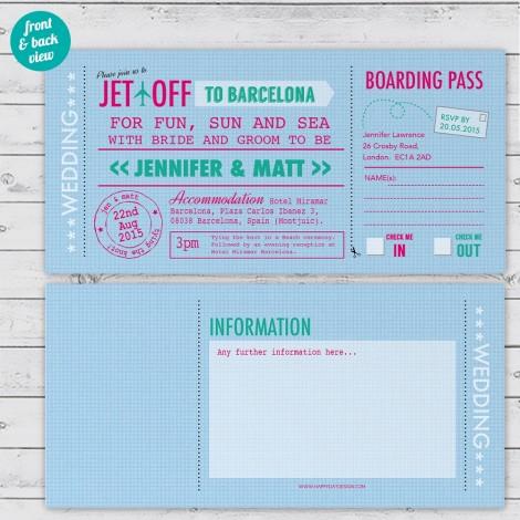 Personalised Travel Ticket Wedding Invitation
