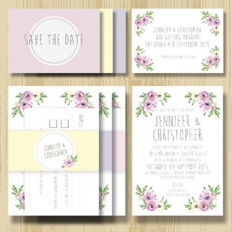 Pretty Pastel Anenome Flower Wedding Invitation