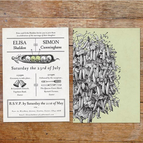 Two Peas in a Pod Wedding Invitation