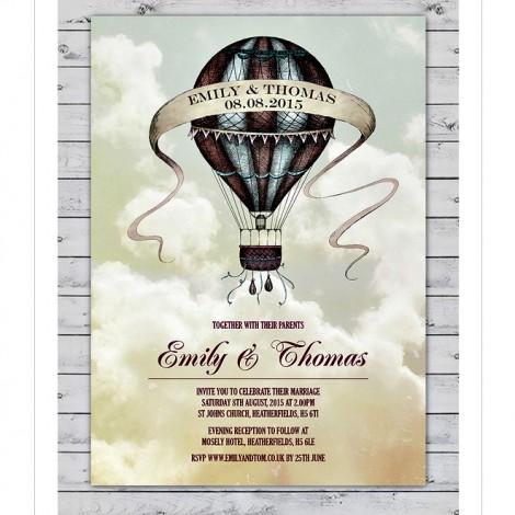 Vintage Hot Air Balloon Wedding Invitation