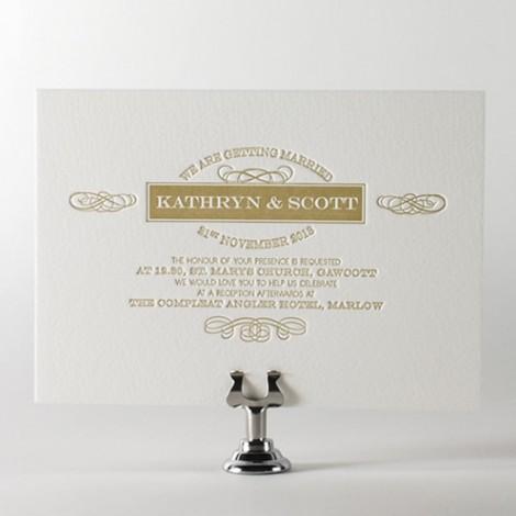 100 Percent Cotton Board Letterpress Wedding Invitation