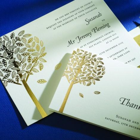 Black Letterpress with Gold Foil Wedding Invite