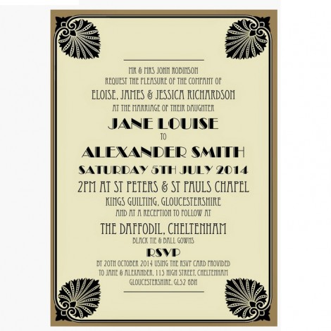 Great Gatsby Style Black and Gold Wedding Invitation