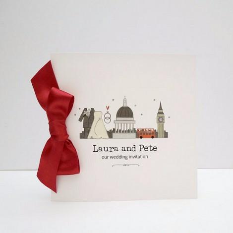 I love London Red Bow Wedding Invitation