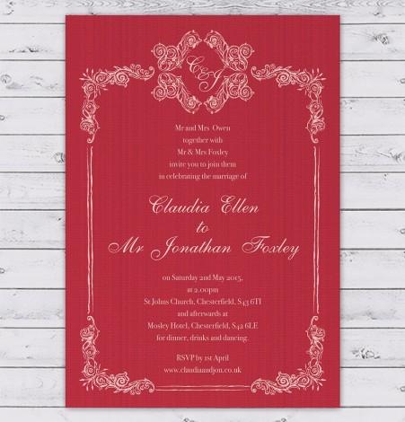 Red Fancy Floral Border Wedding Invitation