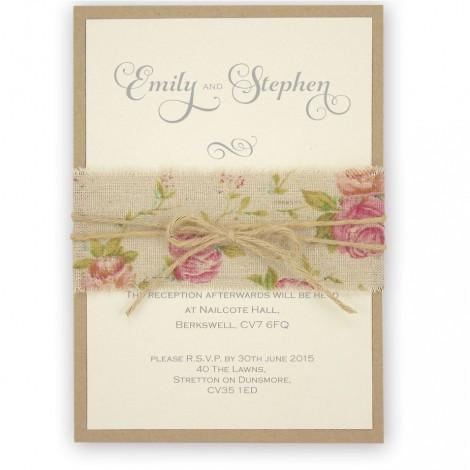 Shabby Chic Rose Twine Wrapped Wedding Invitation