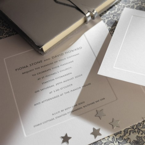 Silver Thermography Wedding Invite