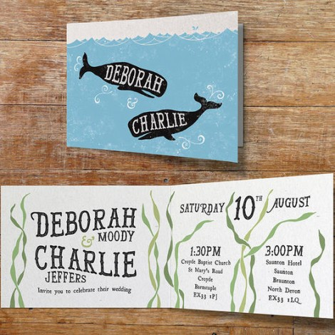 Vintage Blue Whale Wedding Invitation