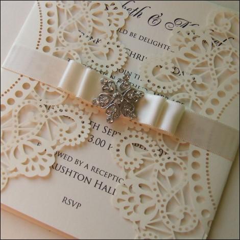 cream lace effect lasercut wedding invitation
