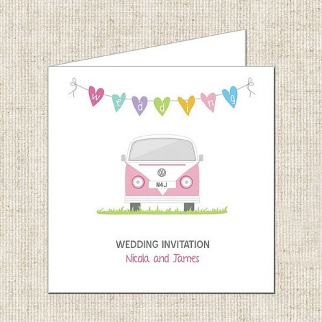 Colourful Campervan Wedding Invitation with Heart Bunting