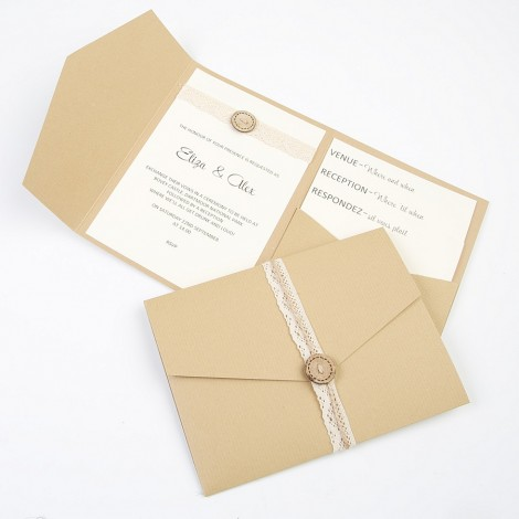 Lace Wrapped Kraft Pocketfold with Wooden Button