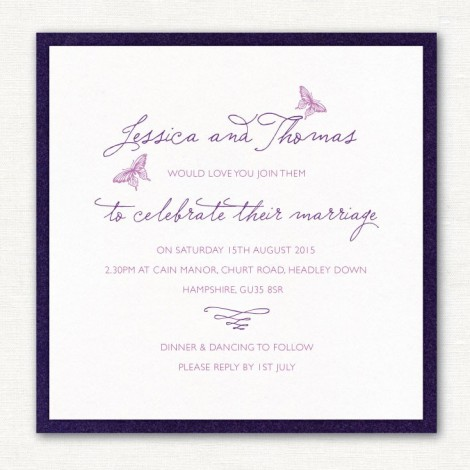 Purple Layered Butterfly Wedding Invite