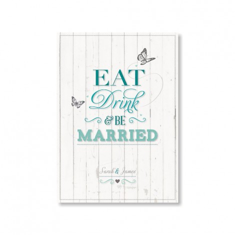 Teal Eat Drink and Be Married Invite