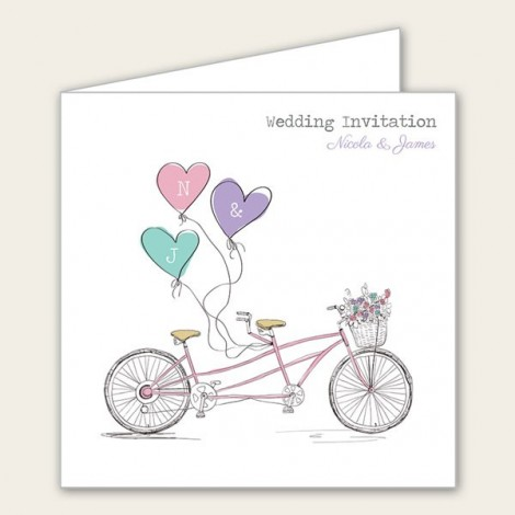 Vintage Tandem Wedding Invitation with Monograms