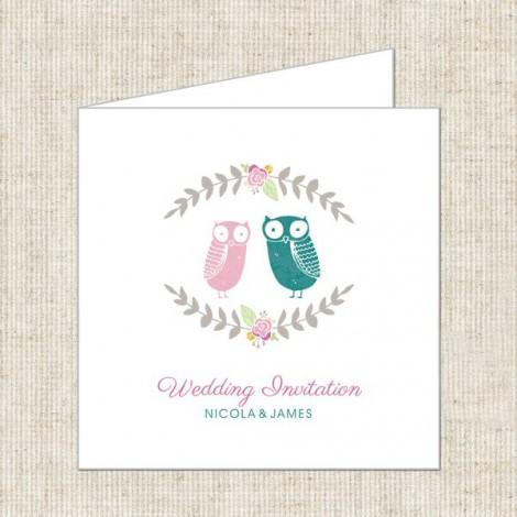 personalised owl wedding invite