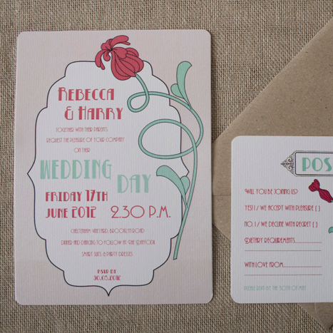 Art Deco Flower Wedding Invitation