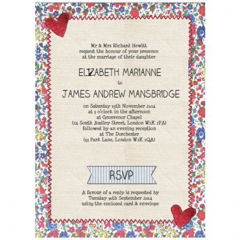 Country Textiles Wedding Invite