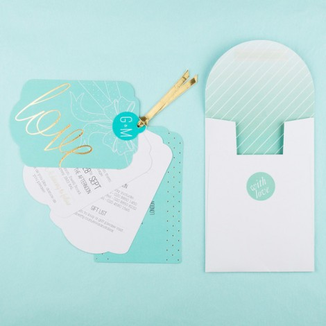 Holly Golightly Hepburn Blue Wedding Invitation