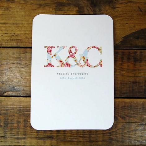 Monogram Postcard Wedding Invitation