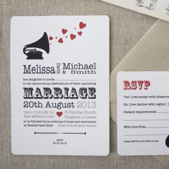 Music Lovers Wedding Invitation with Red Hearts