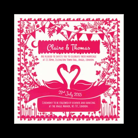 Paper Cut(e) Shocking Pink Swans Wedding Invitation