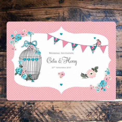 Vintage Tea Party Wedding Invitation