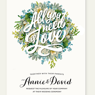 All you need is Love Wedding Invite