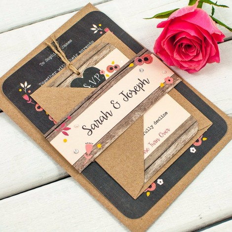 Berry Floral Chalkboard Wedding Invite