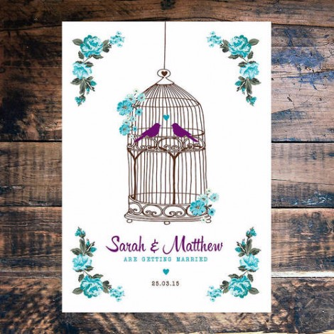 Birdcage Florals Wedding Invite